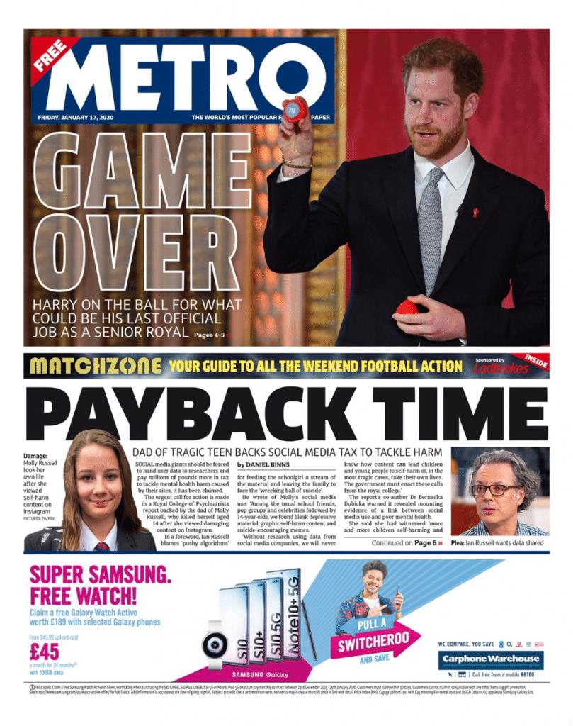 Metro newspaper article